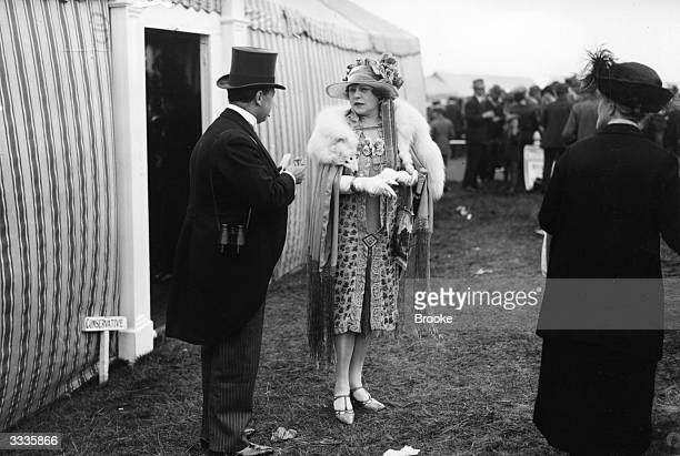 Mrs Frederick Ross at the 3rd day of the races at Ascot in Berkshire.