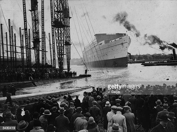 The Canadian Pacific liner 'Empress of Britain' at John Brown's shipyard in the Clyde after being launched by HRH the Princess of Wales The 'Empress'...