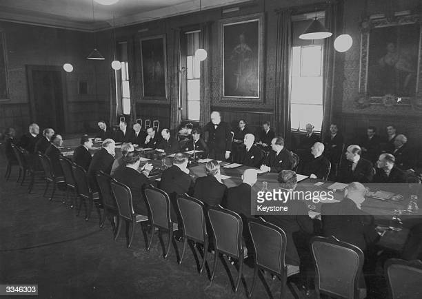 Prime Minister Winston Churchill addresses the conference of Allied and Imperial Statesmen at St James' Palace