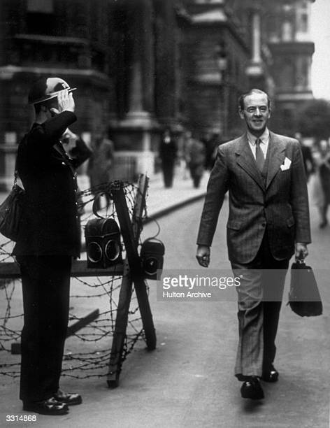 Sir Stafford Cripps the British ambassador in Moscow on his return from Russia He is leaving the Foreign Office after visiting Anthony Eden