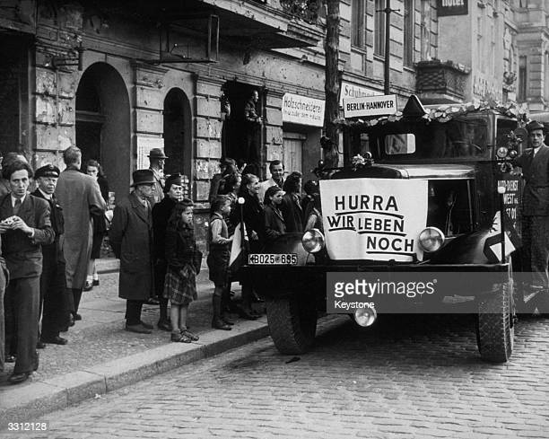 The first bus to the western zone of Berlin after the lifting of the Berlin Blockade