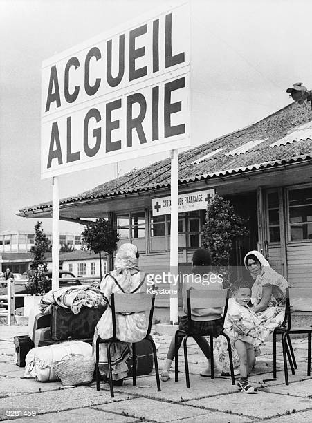 Muslim women wait at Orly Airport near Paris to return to Algeria where the referendum for selfdetermination will shortly take place They are at a...