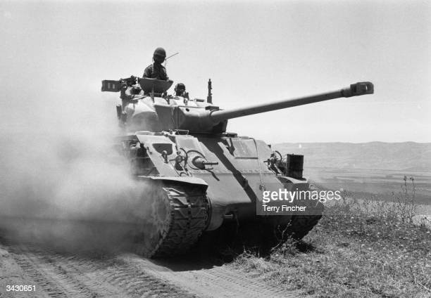 An Israeli tank advancing into Syria during the Six Day War