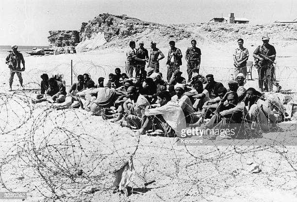Arab prisoners at the Egyptian fortress controlling the strait at Tiran after its capture by Israeli forces following the Six Day War in the Middle...