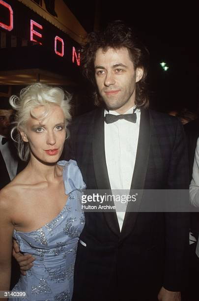 Pop singer Bob Geldof of the ' Boomtown Rats' with girlfriend Paula Yates at the premiere of 'A View to a Kill' a Bond film starring Roger Moore