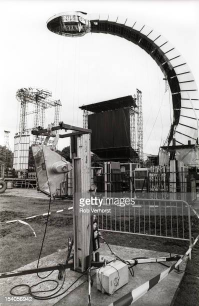 Roadies and technicians construct the stage for the Rolling Stones Voodoo Lounge tour show at Goffertpark in Nijmegen Netherlands on 12th June 1995