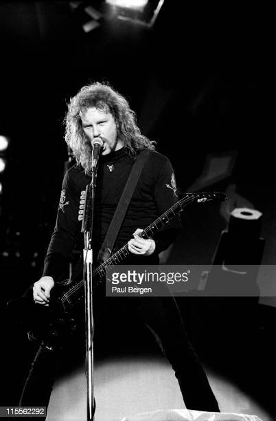 vocalist James Hetfield from Metallica performs live on stage at De Kuip in Rotterdam Netherlands on 12th June 1993