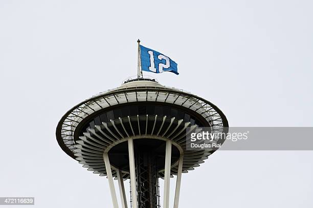 12th Man Flag On Space Needle