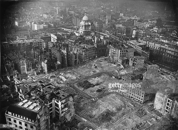 The book publishers' district of London destroyed after the great Nazi fire raid The dome of the Old Bailey stands proud