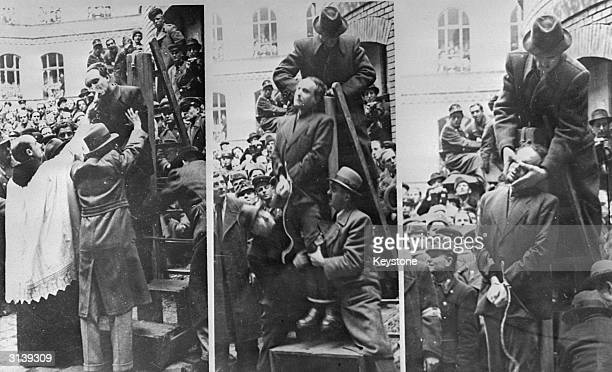 Hungarian Premier Ferenc Szalasi is given the last rites before being hanged as a collaborator in Budapest