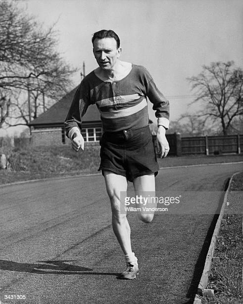 Jim Peters in training for the Boston Classic Marathon He runs 120 miles a week in preparation for the event which has never been won by an Englishman