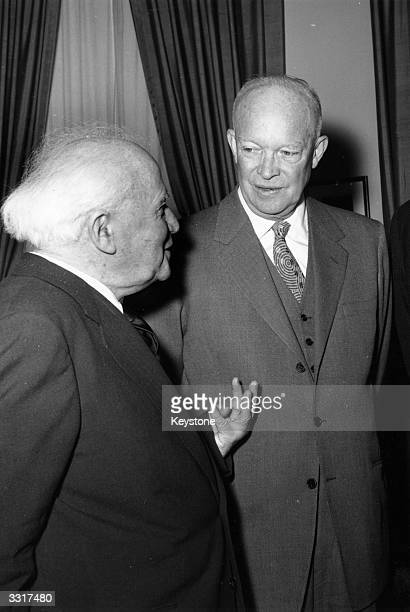 Israeli Prime Minister David BenGurion and American General and statesman Dwight D Eisenhower the 34th President of the United States of America at...