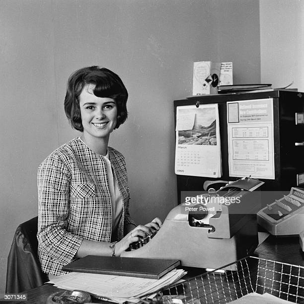 Secretary and Ramsgate beauty queen Christine James gets on with her typing