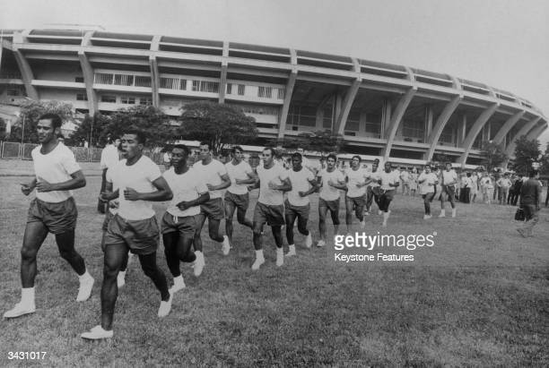 Brazilian footballers in training before the World Cup the legendary striker Pele is third from the left