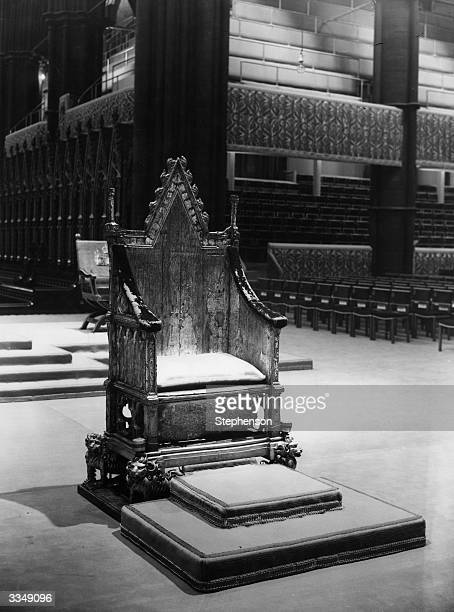 King Edward's Chair, in which he and all monarchs sit for the coronation, inside Westminster Abbey, London.
