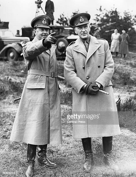 Sir Harold Rupert Leofric George Alexander 1st Earl Alexander of Tunis with General Sir John Dill during exercises at Aldershot