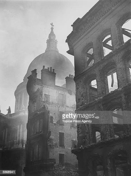 Buildings devastated during air raids near the dome of St Paul's Cathedral in the City