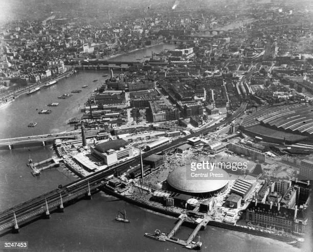 The River Thames curving past the Dome of Discovery Festival Hall and Skylon during the 1951 Festival of Britain