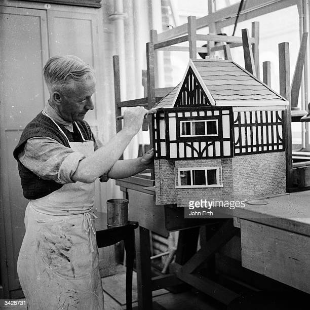 Patient makes a doll's house in the Handicraft Centre at a special hospital at Broadmoor in Berkshire, for those who commit crimes due to their...