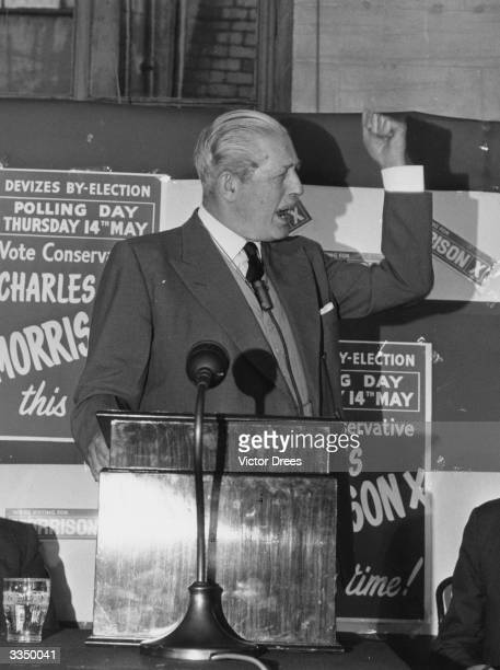 Former British prime minister Harold Macmillan speaks on behalf of conservative candidate Charles Morrison at a byelection in Devizes Wiltshire...