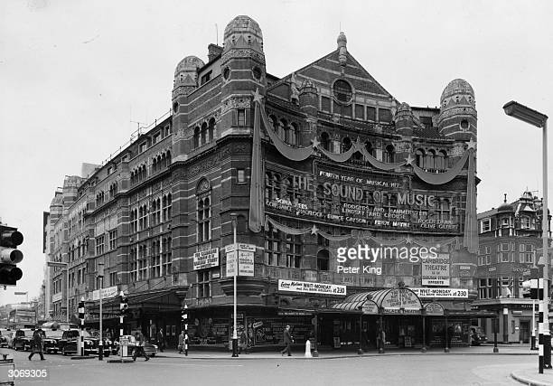 The Palace Theatre on Cambridge Circus London advertises its fourth year of the Rodgers and Hammerstein hit musical 'The Sound of Music'