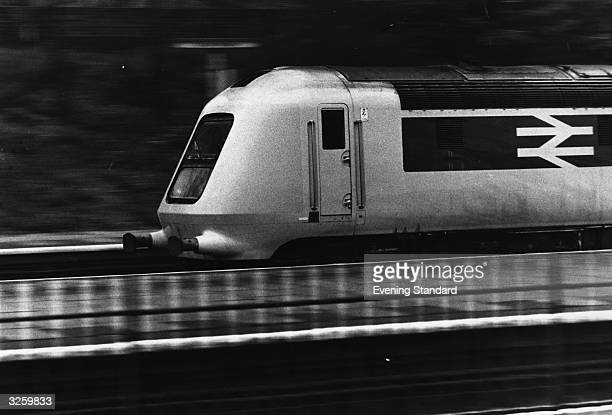 The British Rail prototype high speed train, a diesel multiple unit, on trial at Derby Engine depot.