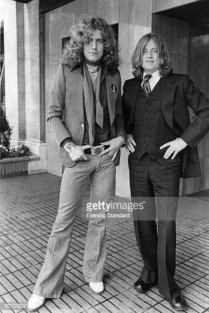 Robert Plant singer and John Paul Jones bass and keyboard player of the British rock group Led Zeppelin
