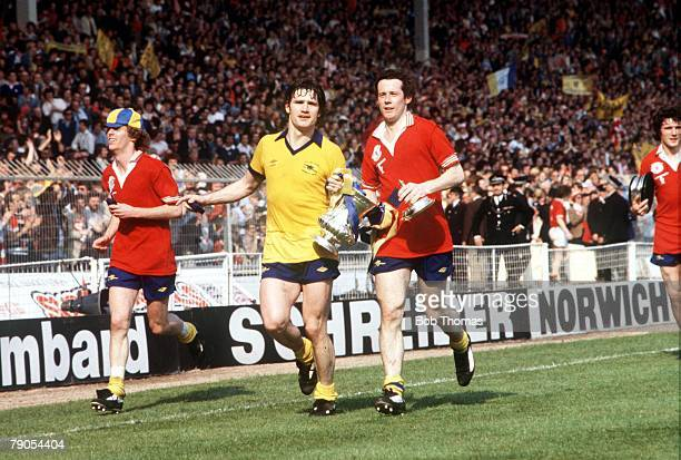 12th May 1979 Wembley London England FA Cup Final Arsenal 3 v Manchester United 2 Arsenal's Graham Rix Pat Rice and Liam Brady celebrate with the...
