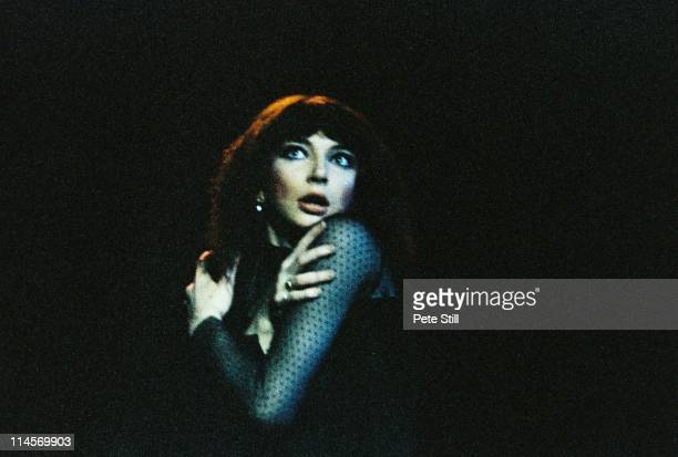 English singer Kate Bush performs live on stage at Hammersmith Odeon in London on the penultimate date of her European tour on 12th May 1979