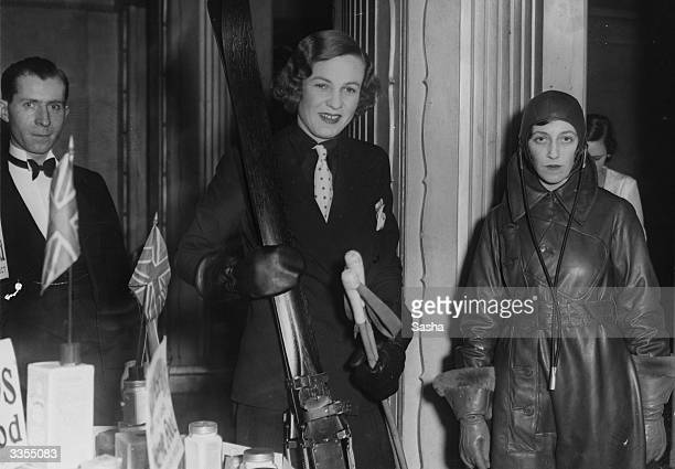 English aviator Amy Johnson left who was the first woman to fly solo from England to Australia at the 'Best of Everything and Buy British Ball' at...