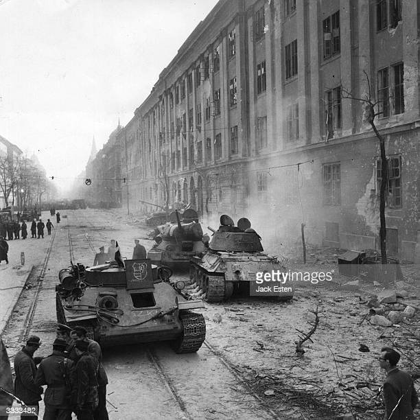 Devastation outside the Kilian Barracks Budapest which were in the thick of the fiercest fighting during Russia's suppression of the Hungarian...