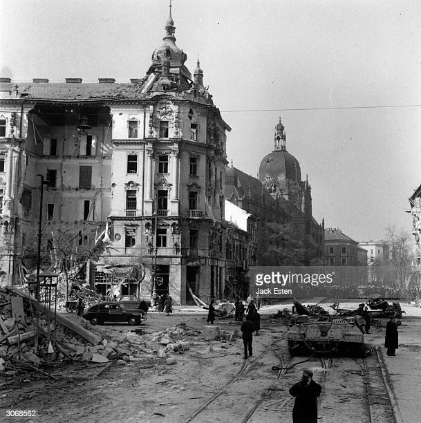 Killian Barracks Budapest damaged in the Hungarian uprising Original Publication Picture Post 8730 Hungary's Last battle for Freedom pub 1956