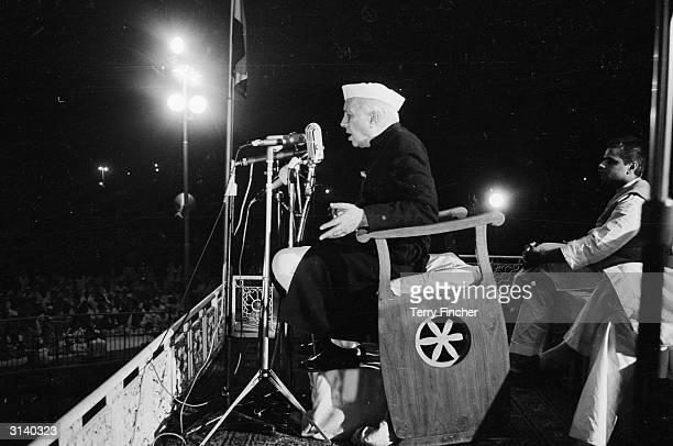 Indian Prime Minister Jawaharlal Nehru speaking at a meeting in New Delhi