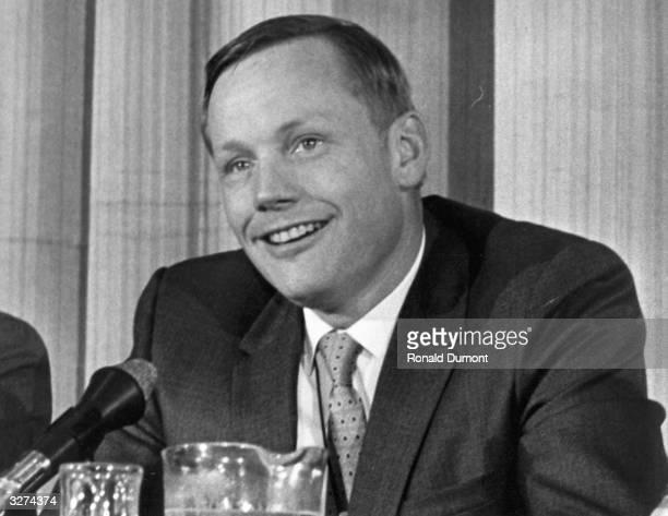 Neil Armstrong, American Lunar Astronaut giving a press interview.