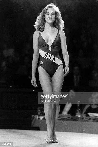 Lisa Ross Miss USA in a swim suit at the Royal Albert Hall for a Miss World competition