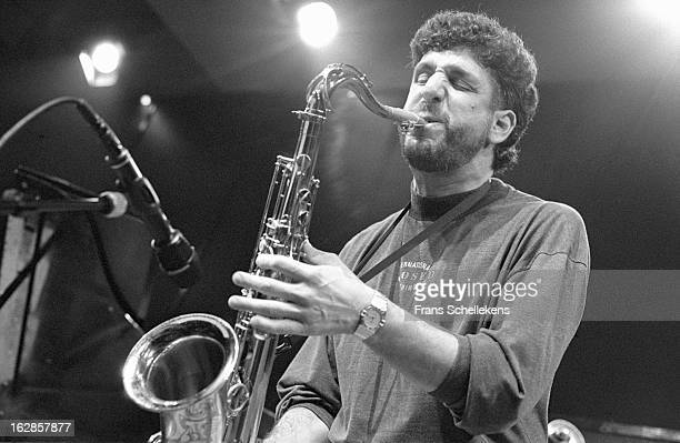 12th NOVEMBER: American jazz tenor sax player Bob Berg performs live on stage at the BIM Huis in Amsterdam, Netherlands on 12th November 1988.
