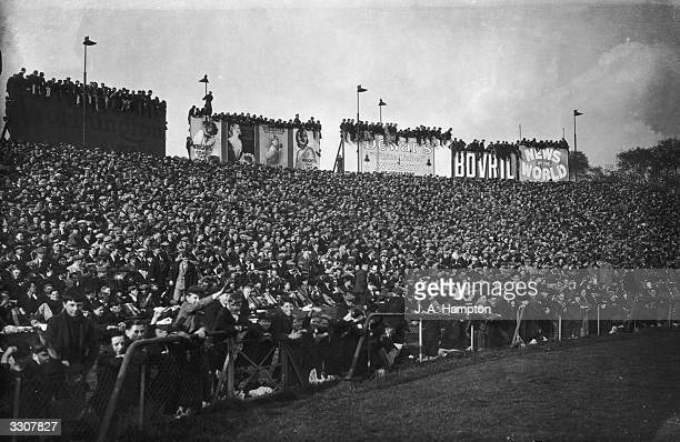 A section of the huge crowd at Chelsea's Stamford Bridge London for the match between Chelsea and Arsenal
