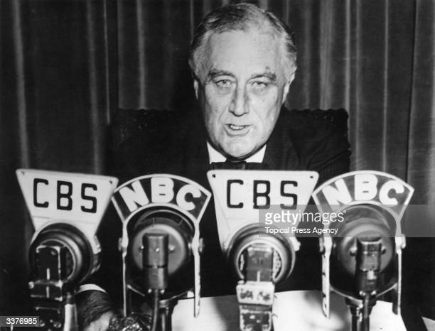 American President Franklin Delano Roosevelt addresses America over a nationwide hook up in a speech on the Neutrality Bill