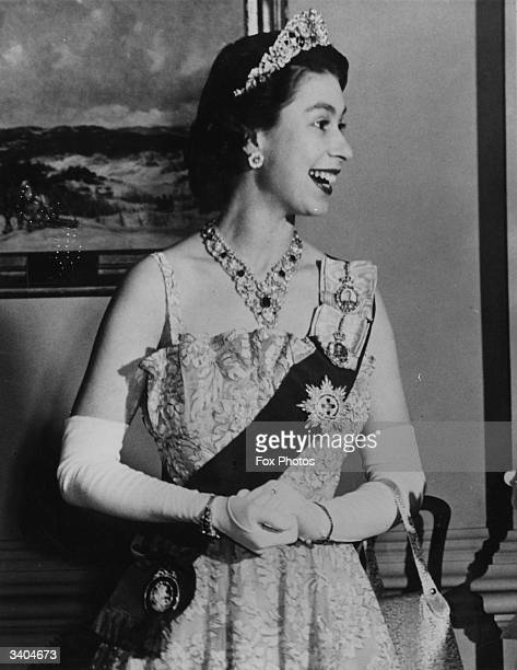 Princess Elizabeth attending a state banquet at Rideau Hall Ottawa during a State Visit to Canada