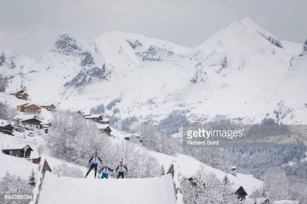 12th place Denise Herrmann of Germany, 1st place Justine Braisaz of France and 3rd place Laura Dahlmeier of Germany compete during the IBU Biathlon...