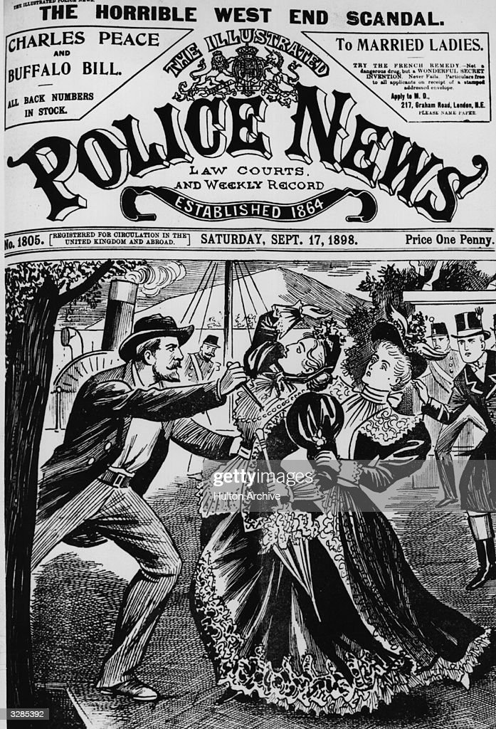 The assassination of Empress Elisabeth Amalie Eugenie of Austria (1837 - 1898), wife of Franz Joseph I, in Geneva. The newspaper, a weekly, shows a drawing of the Empress being knifed by Luigi Lucheni. Original Publication: The Illustrated Police News - The Horrible West End Scandal - pub 1898