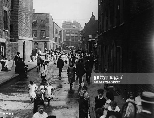 Schoolboy strikers in Bath Street, Shoreditch, London.