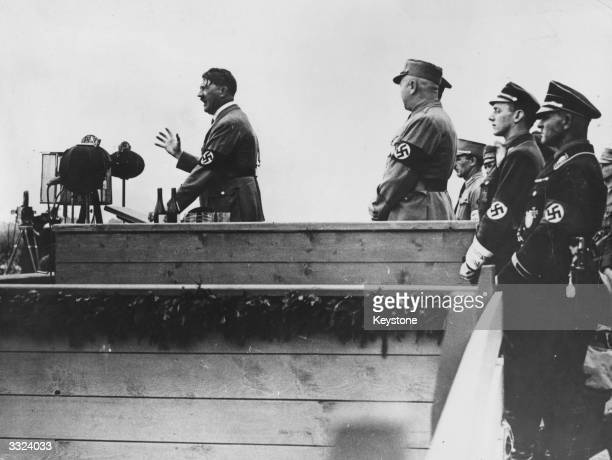 Adolf Hitler chancellor of Germany speaking at a rally at Nuremberg