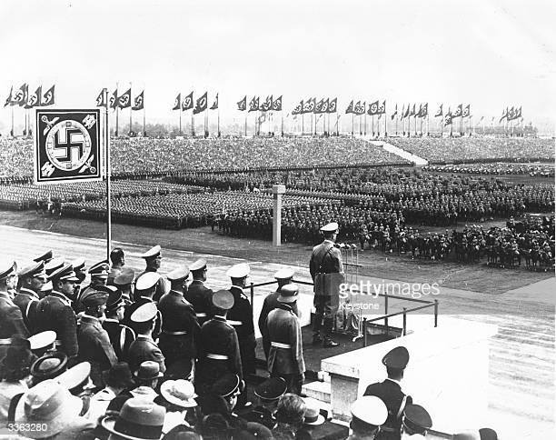 German Chancellor and leader of the Nazi Party Adolf Hitler addressing troops on the Zeppelin Field on the last day of the Nuremberg Congress