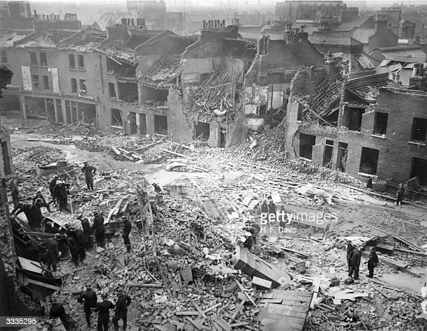 The wreckage of a residential street in South London bombed during a World War II air raid at the start of the Blitz