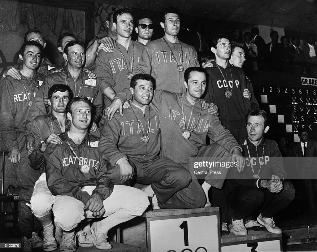 Allan Jay and the rest of the Great British Olympic fencing team on the winner's podium with their silver medals, alongside the gold medal winning Italians and the bronze winning Russians, in Rome.