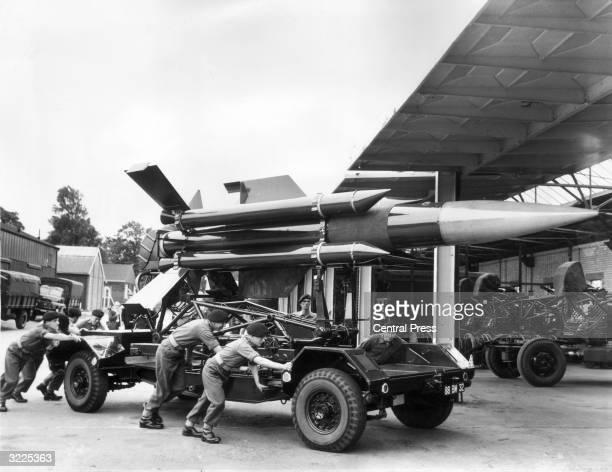 A Royal Artillery crew preparing a Thunderbird guided missile at Horseshoe Barracks Shoeburyness Essex for departure to Germany The AllBritish guided...