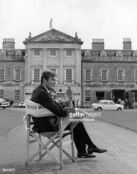 English actor Roger George Moore at Woburn Abbey where he is making the film 'Crossplot'