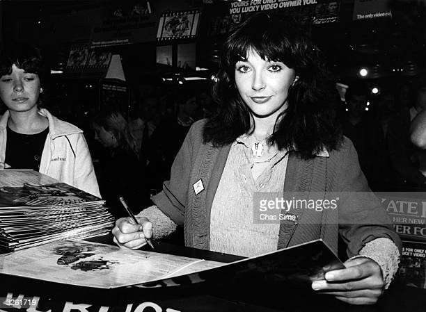 British pop singer Kate Bush signing her latest album 'Never Forever' at London's Virgin Megastore.
