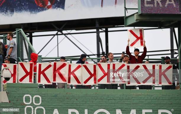 A 12th strikeout goes up in the high centerfield stands after Red Sox pitcher Chris Sale got it in the seventh inning The Boston Red Sox host the...